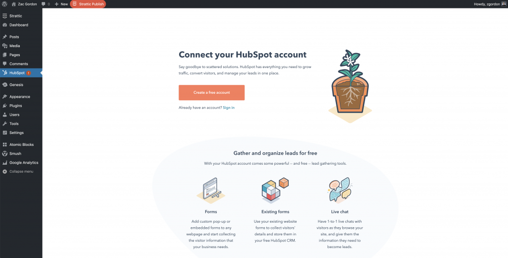 The Hubspot signup process